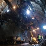 Front de taille avec la fraise et le BRH (Brise Roche Hydraulique) - Tunnel autoroutier de Toulon
